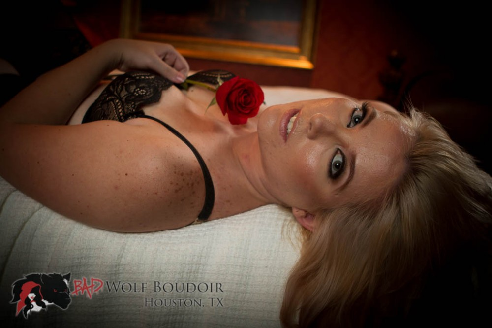 Miss A in bed with a rose | Houston Boudoir Photography