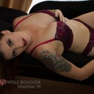 Miss T in Lingerie on the Chaise in our Houston Boudoir Photography Studio